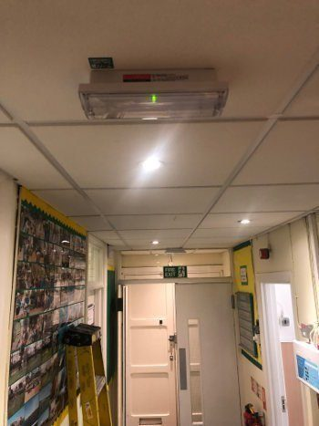 new emergency light installaton in primary school